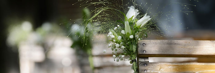 Wooden benches with white roses and baby's breath